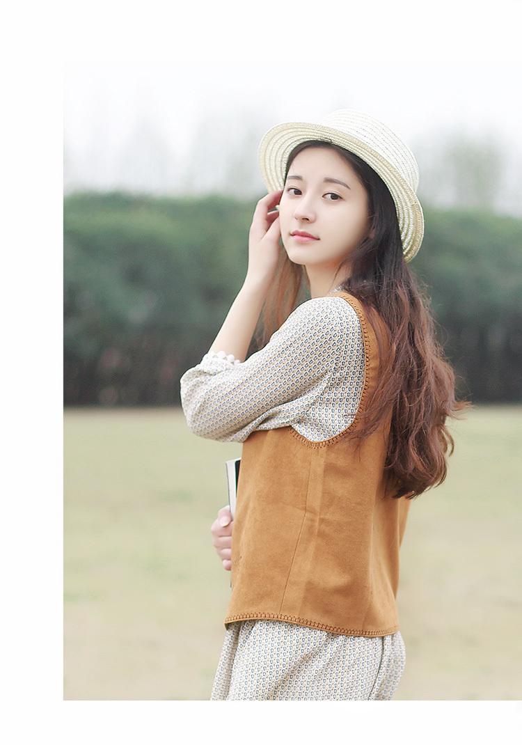 春夏新品日系甜美可爱小清新文艺复古黄色咖色单排扣麂皮绒马甲女