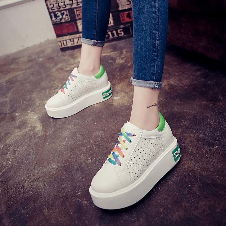 升级透气韩版厚底小白鞋 5厘米底彩虹鞋带