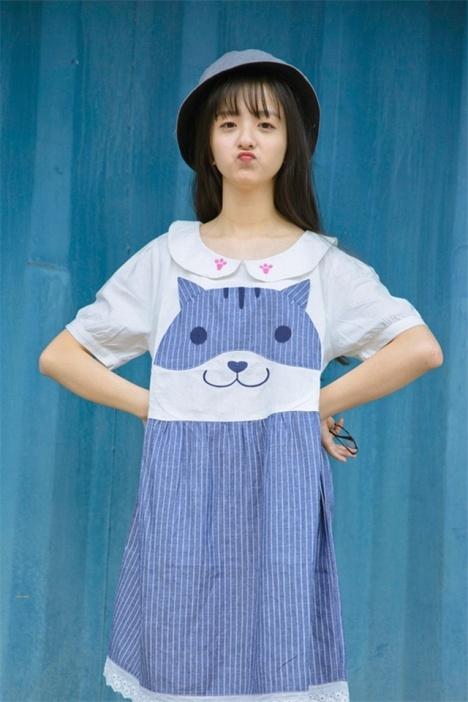 日系软妹可爱猫咪刺绣 娃娃领少女蕾丝花边娃娃裙 连衣裙
