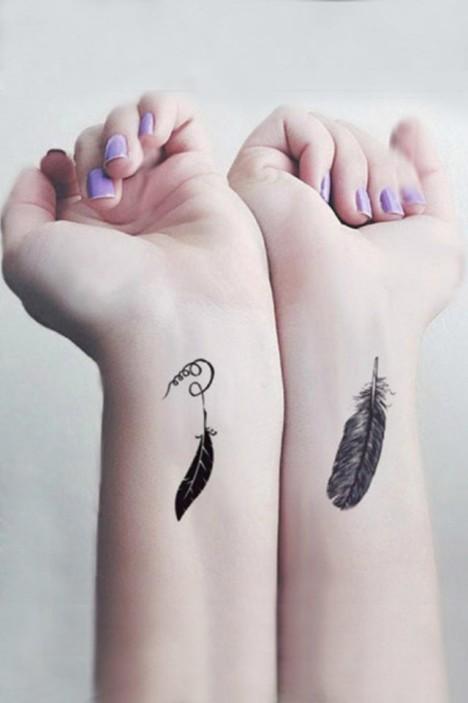 校园男女款,刺青贴,防水纹身贴,小羽毛花纹身贴