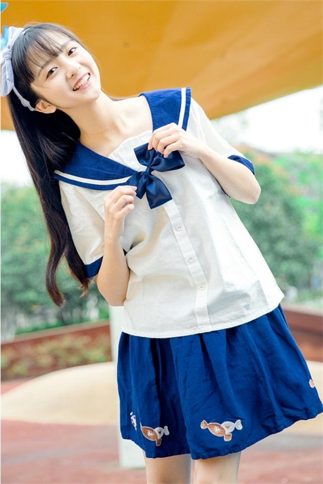 日系清纯学院风 海军水手领软妹蝴蝶结少女可爱学生制服校服套装