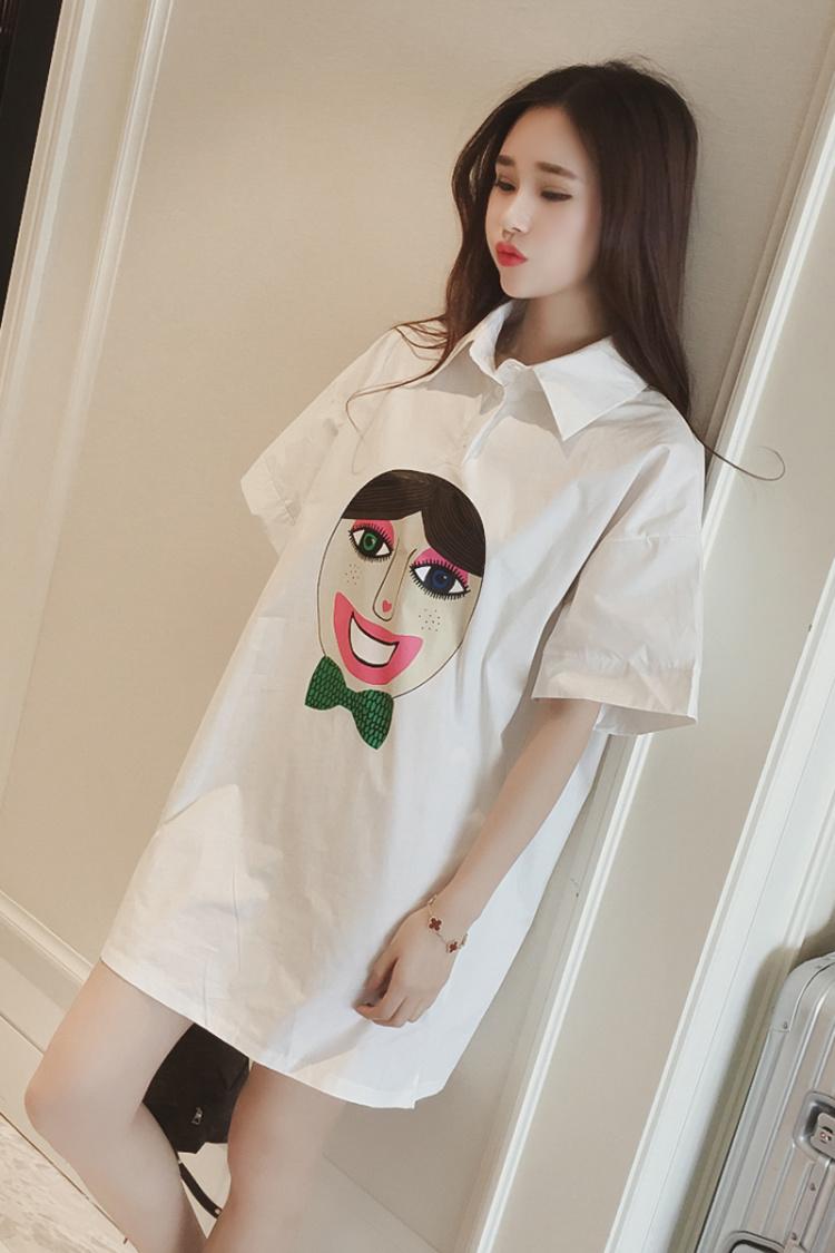 【时尚可爱人头宽松白衬衫连衣裙】-衣服-裙子
