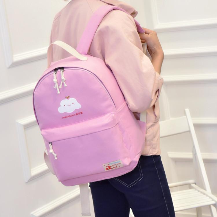 2016新款韩版小清新云朵帆布双肩包学生书包可爱森系旅行背包