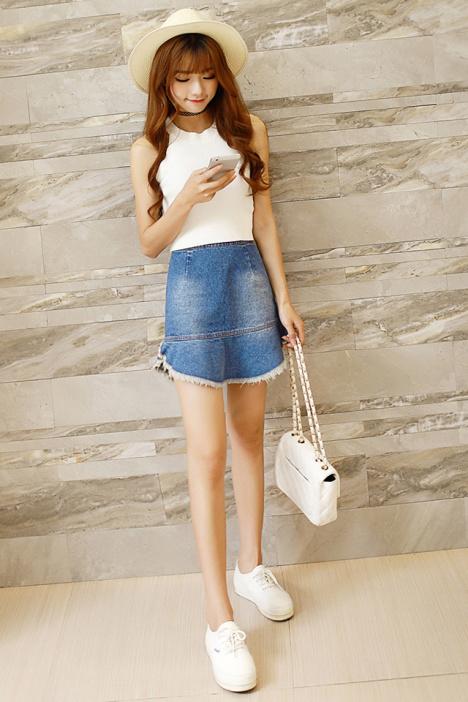 【复古鱼尾牛仔裙】-衣服-半身裙