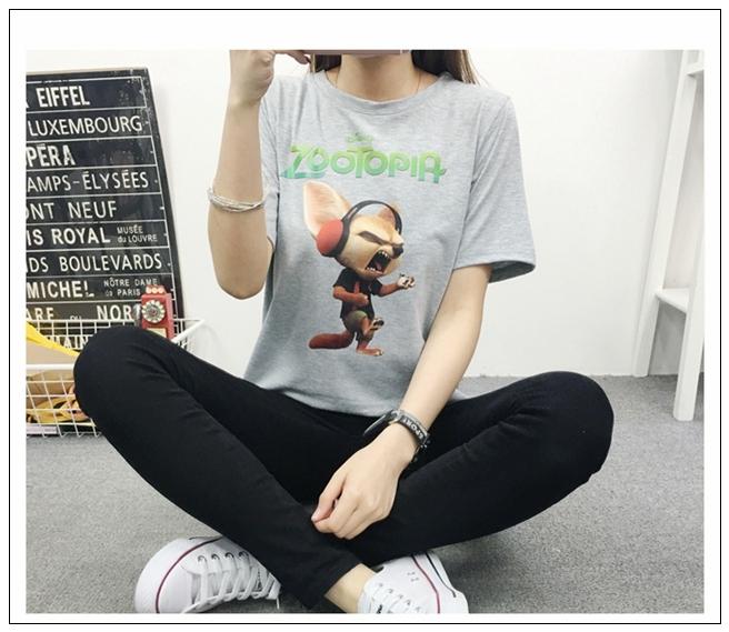 【734图案任选73迪斯尼疯狂动物城闪电树獭t恤女