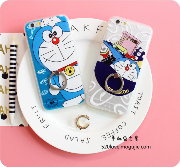 商品描述 非常好看的哆啦a梦卡通保护壳 情侣手机壳 个性可爱 指环扣