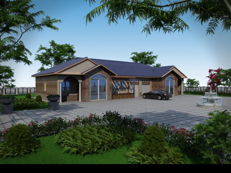 【雙拼一層別墅圖紙農村自建房設計圖建筑結構戶型一