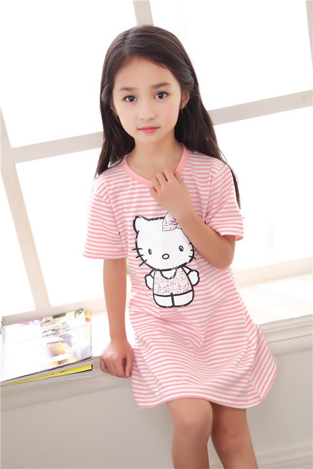 【夏季新款可爱小女孩睡裙韩版卡通小清新儿童睡衣】
