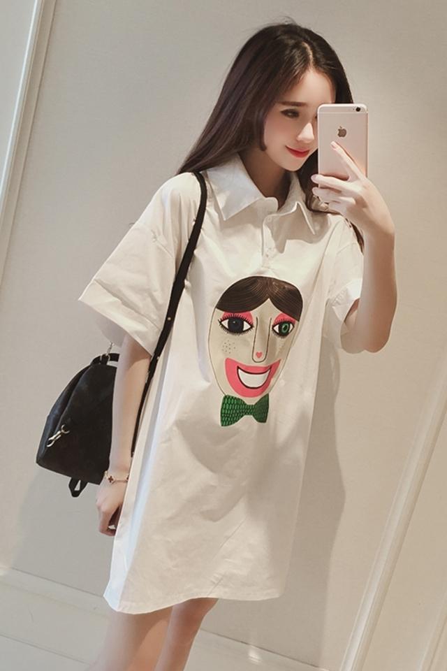 【落雪飞花】夏装新款2016韩国时尚可爱人头宽松白衬衫连衣裙