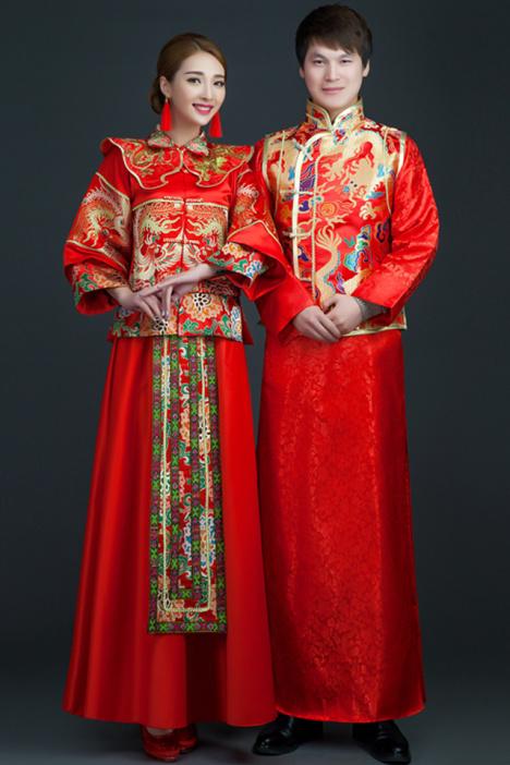 新款中式结婚古装喜服秀禾服 新娘礼服唐装秀和服红色龙凤褂