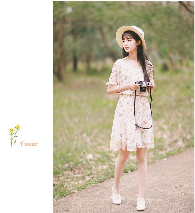 【新夏款少女系小清新花朵两件套套装】-衣服-服饰鞋