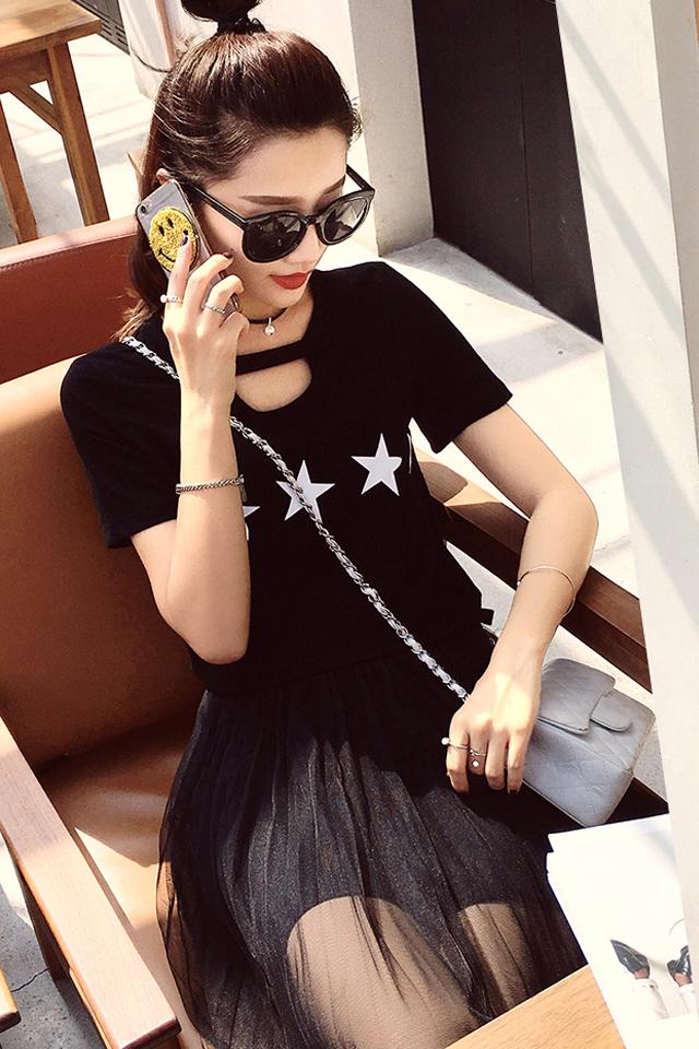 【韩版五角星星t恤+网纱半身裙套装】-衣服-服饰鞋包