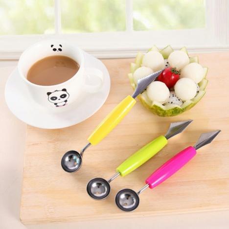 多功能不锈钢雕刻刀双头水果雕花到挖球勺 挖果器 两用切果
