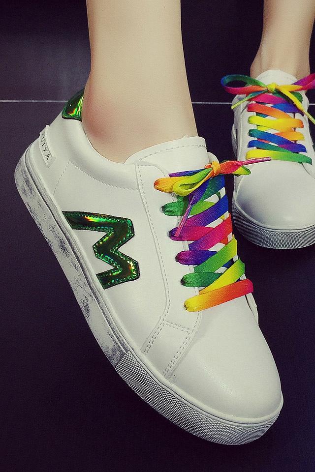 韩版彩色鞋带休闲运动鞋