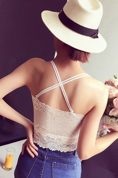 【送透明肩带】蕾丝花边抹胸裹胸防走光打底吊带