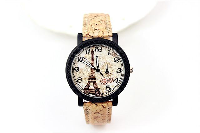 【欧洲复古文艺数字拼色木纹手表】-配饰-手表