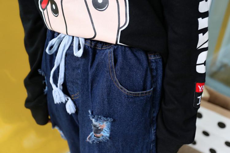 【《高品质大码》彩色破洞牛仔裤】-衣服-裤子