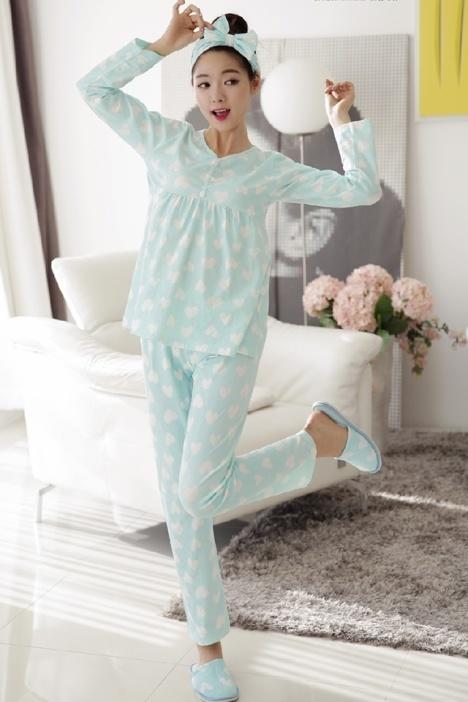 韩版睡衣女款春秋冬纯棉长袖秋季薄款家居服甜美可爱少女睡衣套装