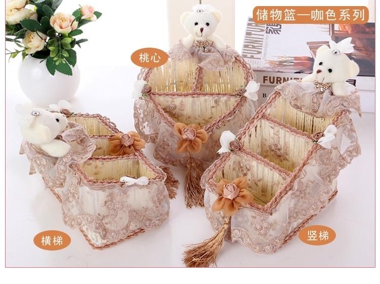 欧式蕾丝其他创意布艺纸巾盒卡通纸抽盒小熊纸巾盒车用抽纸盒