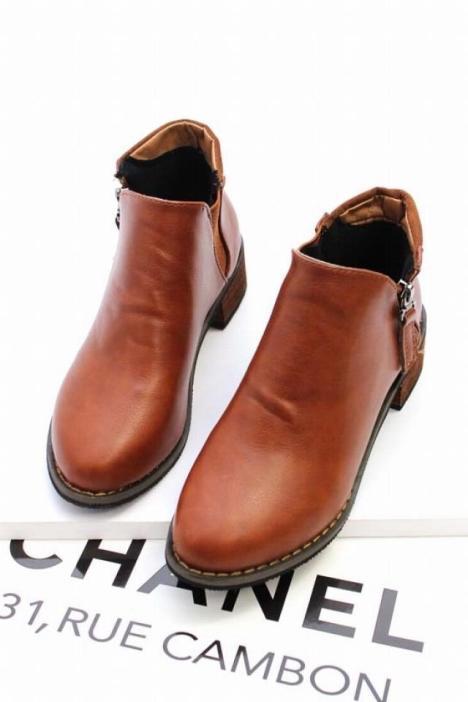 【欧美范潮款粗跟短靴】-鞋子-靴子