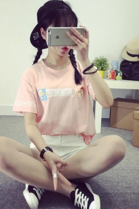 【韩国ulzzang宽松原宿风卡通印花短袖t恤】-衣服