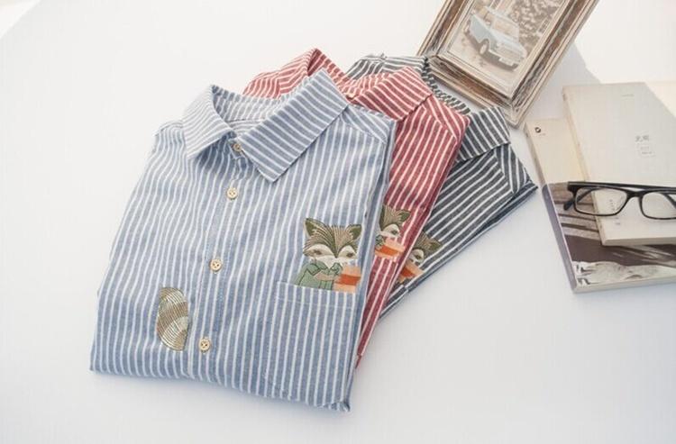 韩小妮原创大码松鼠刺绣条纹全棉磨毛文艺衬衫