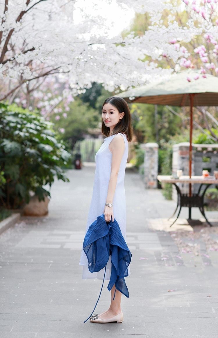 盘扣旗袍裙棉麻裙