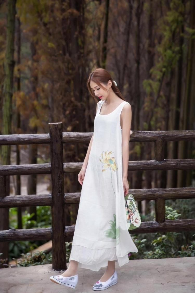 2016夏装中国风文艺风复古手绘花连衣裙民族风棉麻背心裙打底长裙